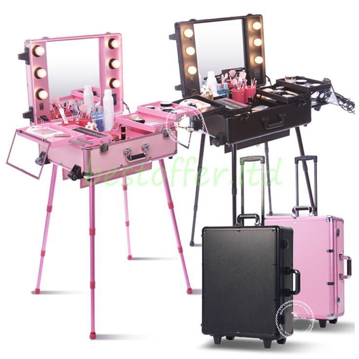 Various Aluminum Rolling Makeup Case Salon Cosmetic Train Box Organizer Trolley