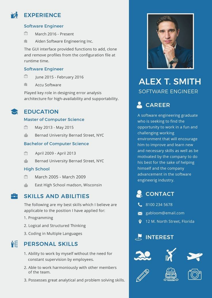 Download This Free Resume Template For For Entry Level Or Professional Software Engineer Applic Engineering Resume Templates Resume Software Engineering Resume
