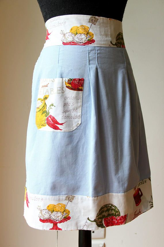 Vintage blue half apron/ pale blue cotton apron/ retro kitchen