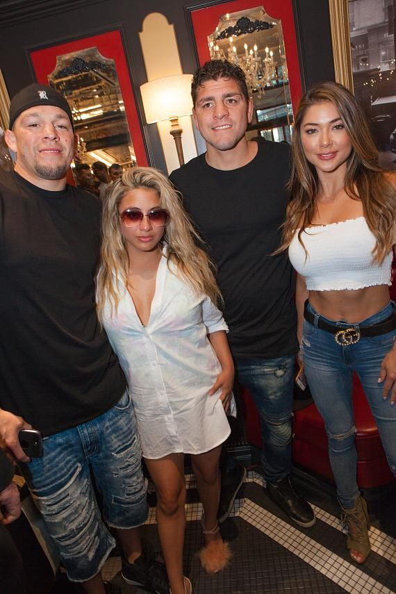 Nate Diaz, Ally Brooke, Nick Diaz and Arianny Celeste at Sugar Factory Las Vegas