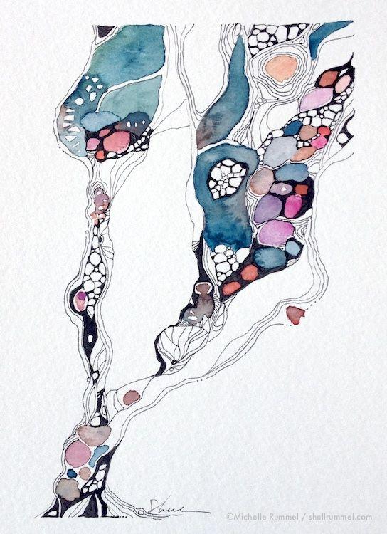 Journeys... ~ Original Ink & Watercolor by Shell Rummel ©Michelle Rummel