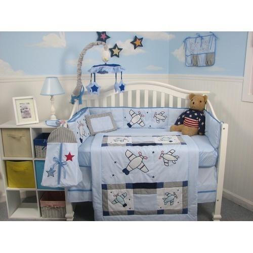 Soho designs 13 piece airplane baby crib nursery bedding set babyairplane nursery bedding sets - Airplane crib bedding sets ...