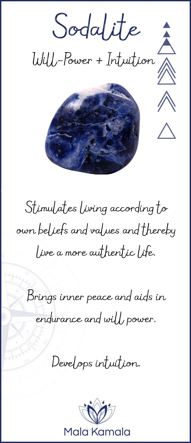 What is the meaning and crystal and chakra healing properties of sodalite? A stone for will-power, determination and intuition. Has some properties similar to lapis lazuli.