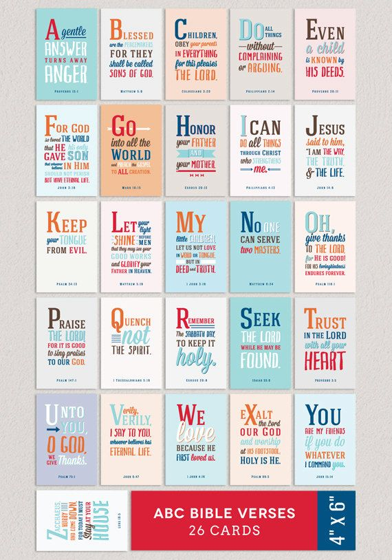 ABC Verses BOY 4x6 A to Z Bible Verses for Children by Huetopia