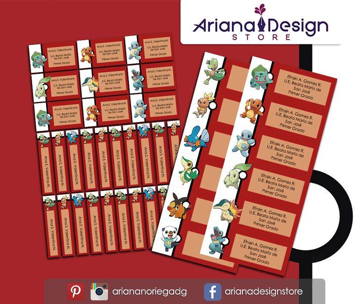 Kit Imprimible de #etiquetas personalizadas con el motivo #Pokemon. | 3 tamaños: 9 x 3,5 cm, 5 x 1 cm y 5 x 3 cm. |   Personalized and printable #labels pack - #PokemonGo.  | 3 sizes: 9 x 3,5 cm, 5 x 1 cm and 5 x 3 cm. |   Tienda/Shop: https://arianadesignstore.etsy.com
