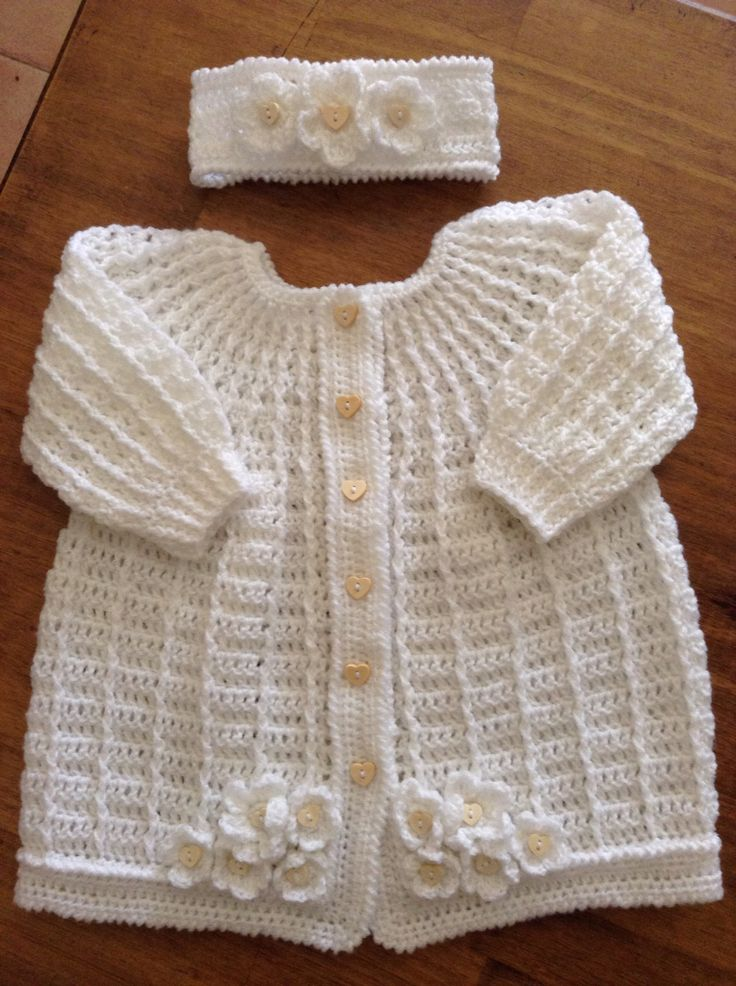 Coat and Headband by @RocksandRoses , so cute, just love this #crochet baby dress