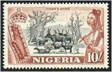 Nigerian Stamp depicting Cattle Rearing and Hides n Skin