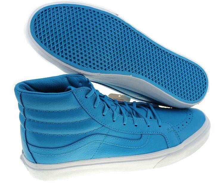 Vans Men 7.5 Women 9 Sk8 Hi Slim Neon Leather Blue High Top Shoes Sneakers New #Vans #Skateboarding