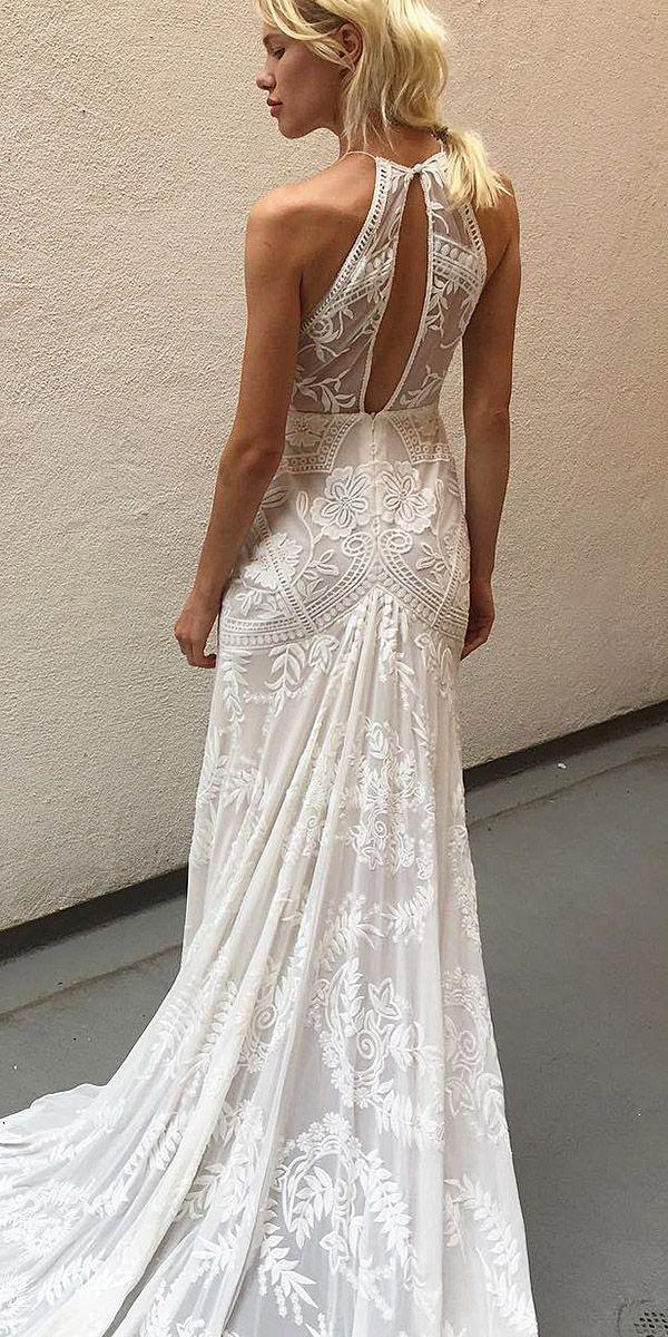 15 Fantastic Lace Beach Wedding Dresses ❤️ lace beach wedding dresses open back sleeveless floral embellishment rue de seine bridal ❤️ Full gallery: https://weddingdressesguide.com/lace-beach-wedding-dresses/ #bride #wedding #bridalgown #vintageweddingdresses