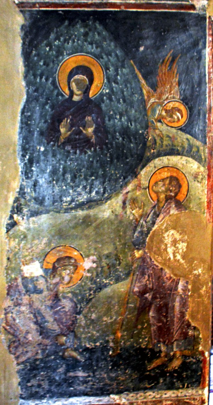 The Church of Saint Nicholas Orphanos / Thessaloniki /Fresco showing Moses:    Burning Bush