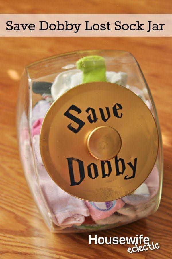 "Still losing socks? Make a ""Save Dobby"" lost sock jar. | 29 Incredibly Clever Laundry Room Organization Ideas"