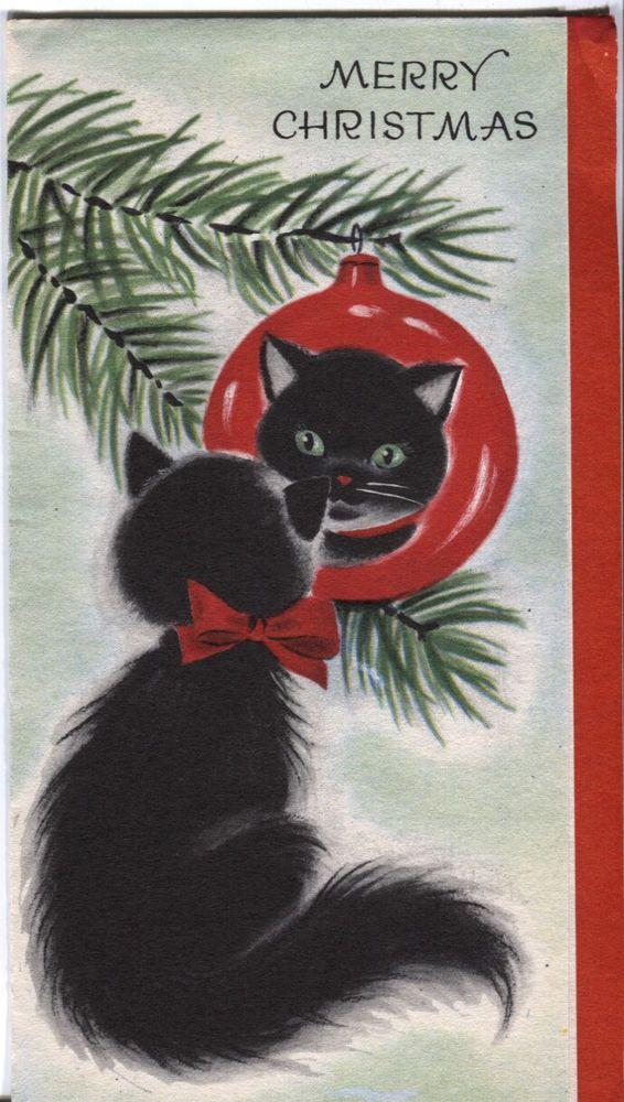 #Vintage Kitty Christmas Reflections ~ Vintage '50s Christmas card #blackcatsrule