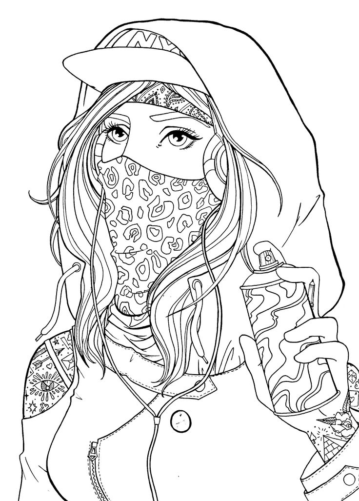 Graffiti girl drawing lineart Cute coloring pages