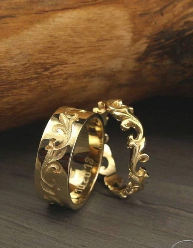 Unique Matching Wedding Bands Set Vine Wedding Rings His And Her Unusual Bands Set Rings Mens Wedding Bands Wedding Rings Unique Matching Wedding Rings