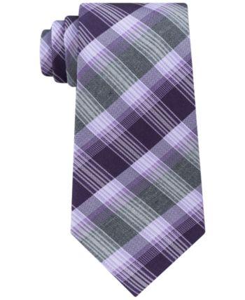 cf67b8e88fb2 Kenneth Cole Reaction Men's Plaid Stripe Slim Silk Tie - Purple | Products  in 2019 | Silk ties, Tie, Plaid
