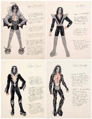 560: Four LeGaspi KISS costume designs: : Lot 560