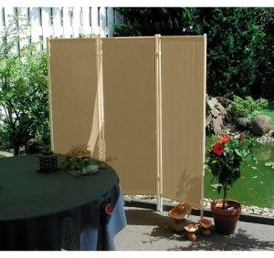 Vintage Leco Windscherm Paravent delig frame wit doek