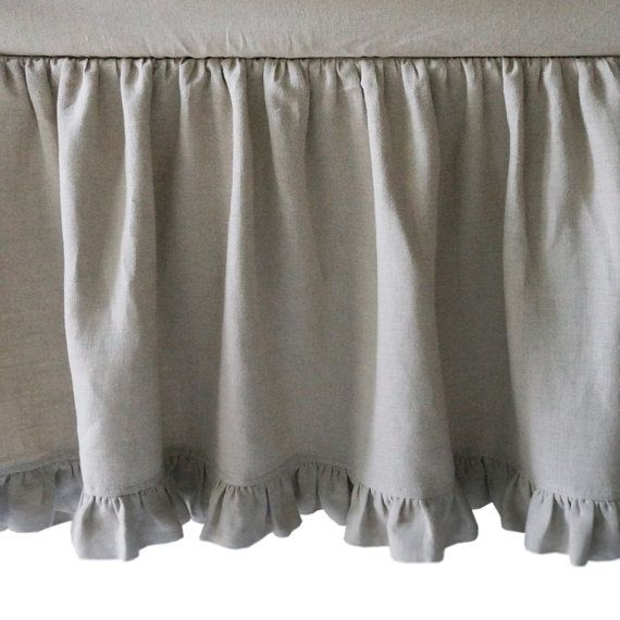 linen bedskirt with ruffle queen made by lovely by