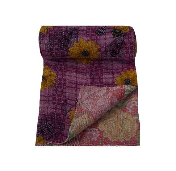 Indian Kantha Blanket Sari Patchwork Kantha Quilt by jAiSaLmErArT