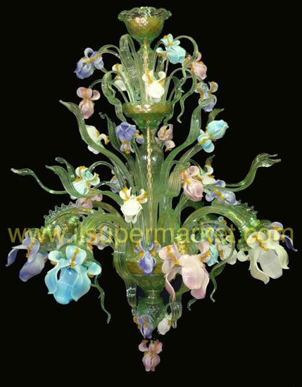 Murano Glass multi pastel floral chandelier