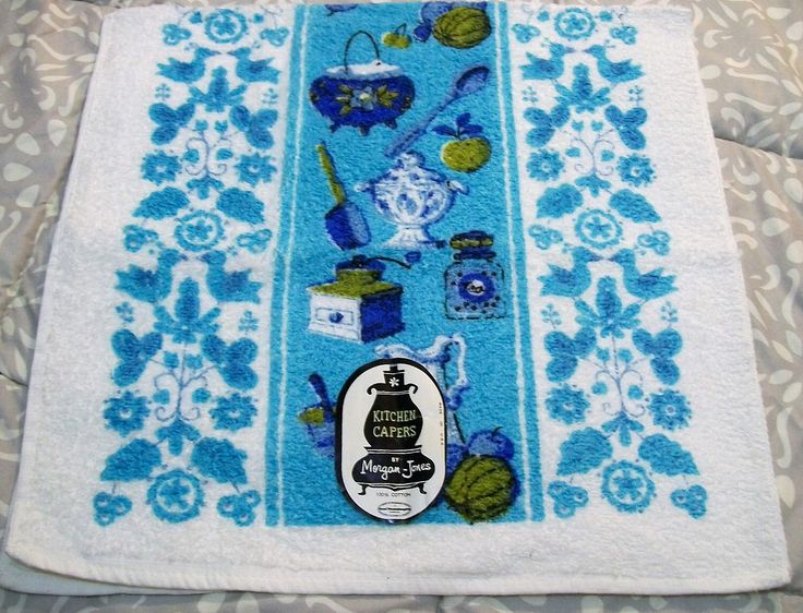 Excited to share the latest addition to my #etsy shop: Kitchen Towels, Vintage Towel, Blue Towel, Hand Towels, Morgan Jones 1960s, Vintage Kitchen, Pots pans kettel towel