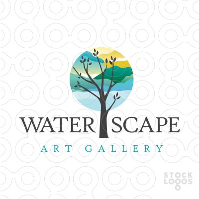 Logo for sale: Beautiful calming logo design. The tree top is designed to resemble a beautiful abstract landscape scenery.
