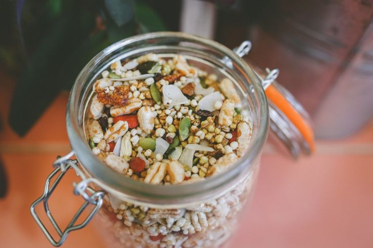 Homemade cereal with puffed grains (e.g., amaranth, quinoa and spelt), shaved coconut, cashews and pecans, pepitas, goji berries and white mulberries (or other dried fruit), via Three Seedlings