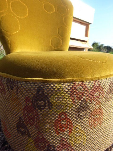 Handprinted bee fabric on the Beekeepers chair by Boxinghare.