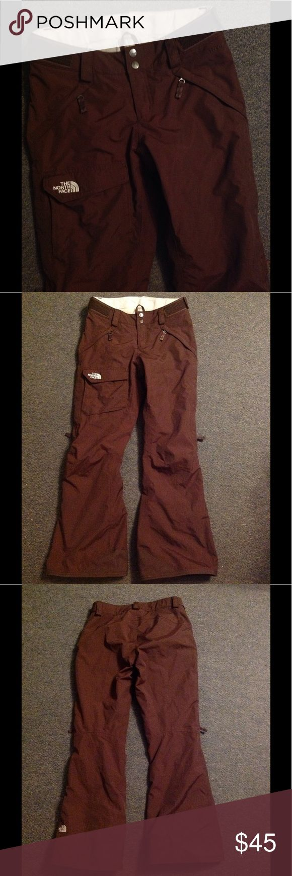 "North Face Brown Hyvent Ski/SnowBoard Pants XS Nice pair of North Face ski/snowboard pants. Made of nylon and insulated. Marked size XS. Waist measures about 30"" and has Velcro to make smaller - Inseam 30"". Only used for 1 ski weekend. No flaws. The North Face Pants"