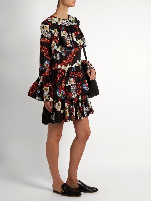 Find Msgm Floral-print Tiered-hem Cotton Dress Only at Modalist
