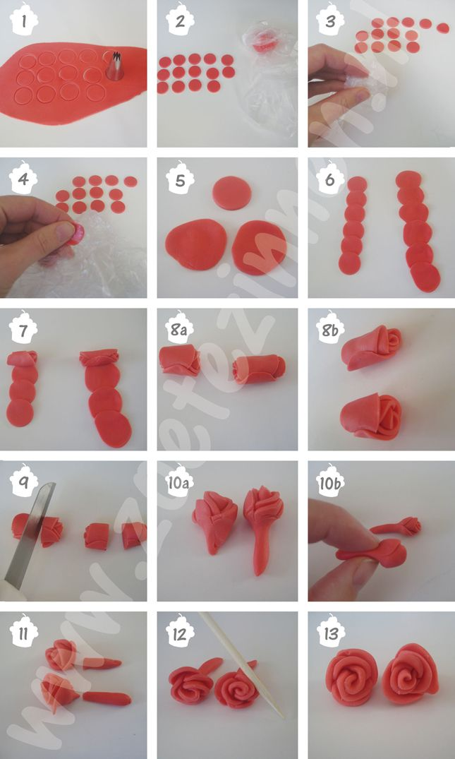 How-to snel roosje van fondant variant 1 (how-to rose made of fondant/gumpaste)