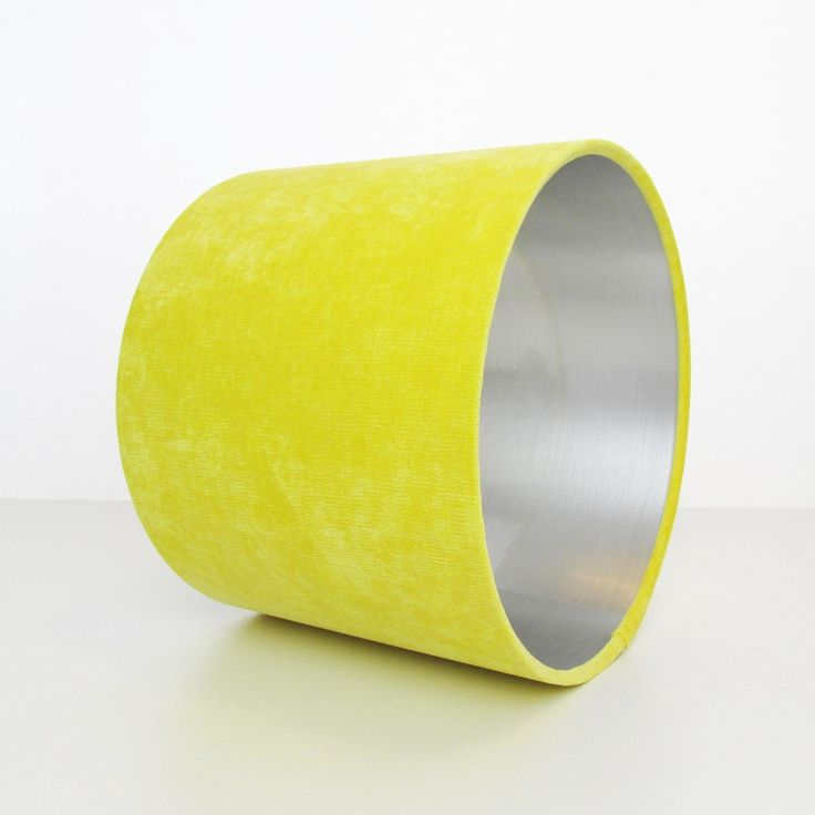 Yellow and Silver Lampshade in Velvet - Inner Image