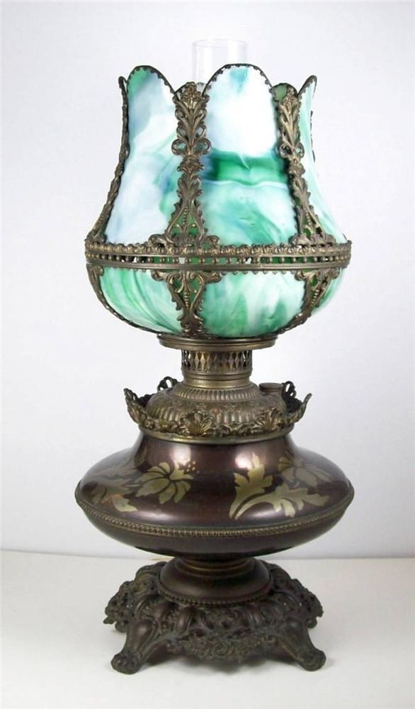 Antique Converted Oil Lamp Slag Glass Tulip Shade Bronze Tone Floral Brass Base