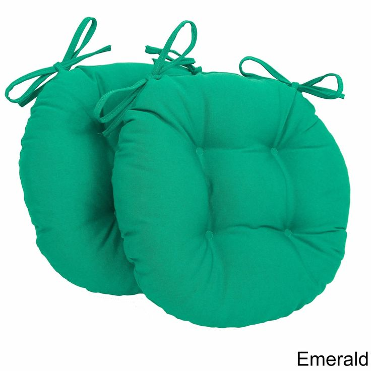 Blazing Needles Tufted Twill Round Chair Cushions Set Of 2 Emerald