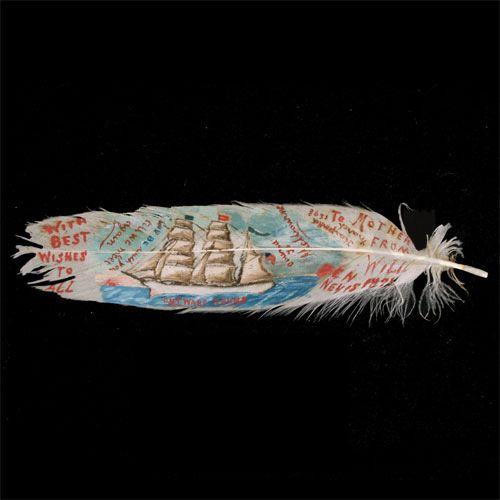 sailor nautical feather souvenir antique painted 1898