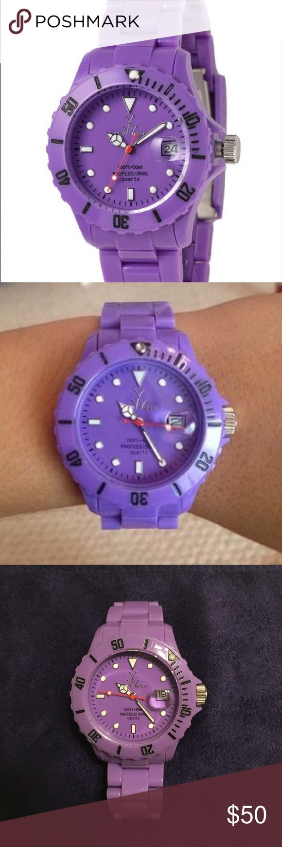 """ToyWatch Midsize Monochrome Watch MO13VL Jazz up your jewelry collection with this fun purple monochrome ToyWatch!  Plasteramic case and bracelet. Magnified date display.  40m water resistance.   39mm case. Super fun 💜 measures 6"""" if I find the additional links, I will include them. Needs battery replacement. ToyWatch Accessories Watches"""