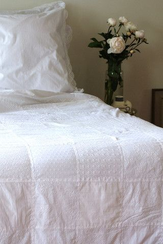 I want to do one of these- I love all white patchwork quilts!