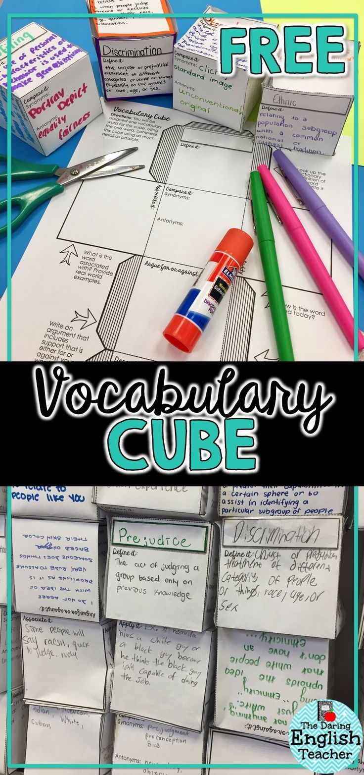 Free vocabulary activity download! This vocabulary cube can be used to teach vocabulary or to introduce new concepts in middle and high school classrooms.