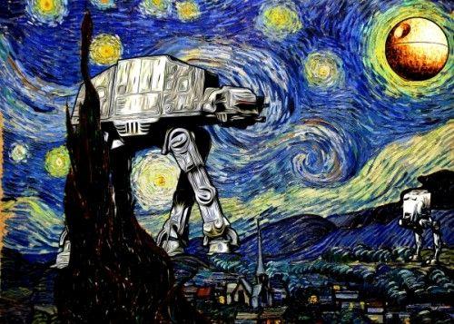 Starry Night Vincent Van Gogh Mashup Star Wars Atat Atst