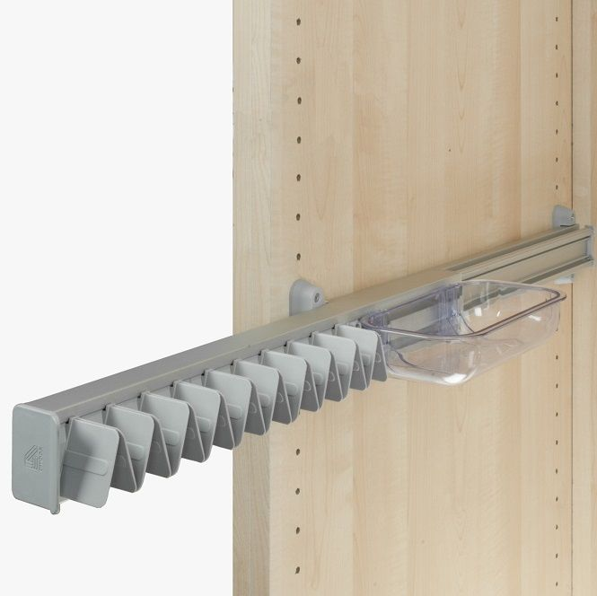 Ambos Pull Out Tie Hanger runs smoothly on an aluminium ball bearing runner and has a small tray ideal for emptying pockets of change, keys etc. Fibreglass-reinforced nylon clips.  Also suits belts and scarves.