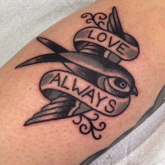 Black and white traditional tattoo bird and scroll love for Love always tattoo