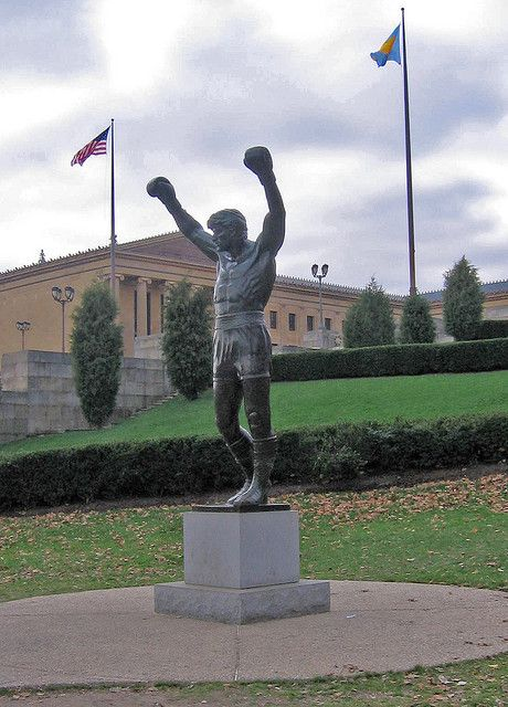 The statue of fictional boxer Rocky Balboa, played by Sylvester Stallone.