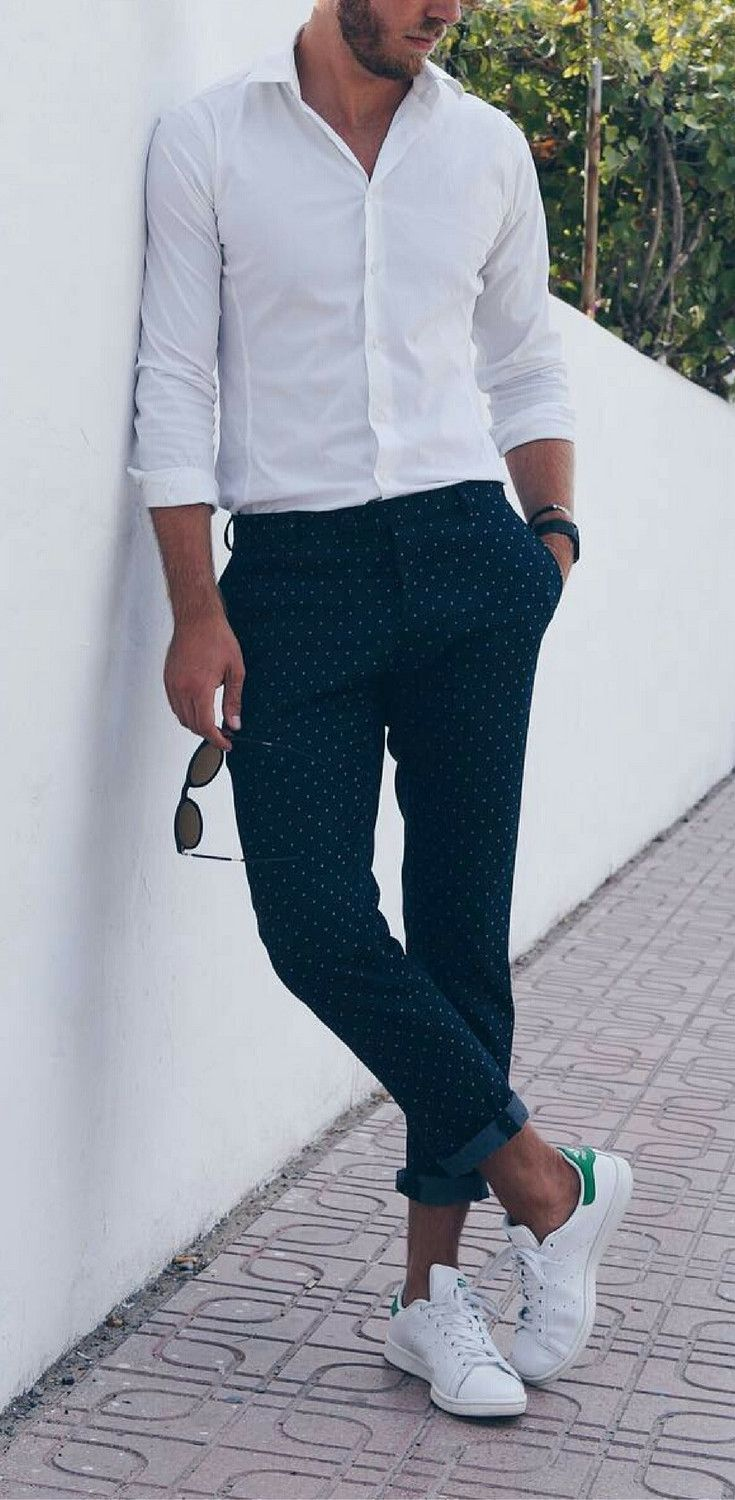 white sneakers outfit ideas for men, how to wear white sneakers for men