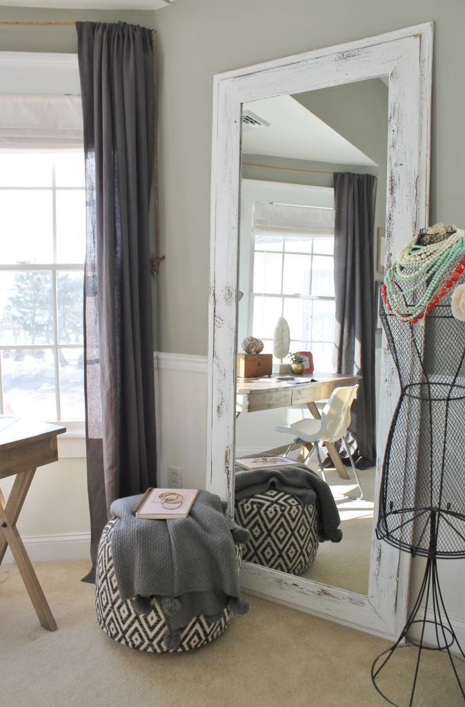 Rustic Chic Master Bedroom With Grays & Warm Coral. And Barnwood Mirror