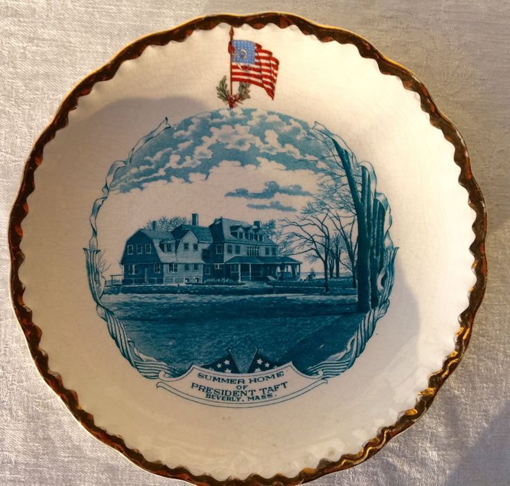 Vintage Carnation McNicol transferware plate Summer Home of President Taft Beverly, Massachusetts by WorcesterMercantile on Etsy
