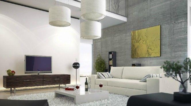 Modern Living Room Concrete Wall Mezzanine: Ideas, Modern Living Rooms, Interiors Wall, Concrete Walls, Wall Mezzanine, Features Wall, Interiors Design, Rooms Concrete, Concrete Interiors