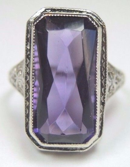 Antique Vintage Deco Amethyst Engagement Ring 14K White Gold Ring Size 8 UK-P1/2 #Unbranded #Solitaire