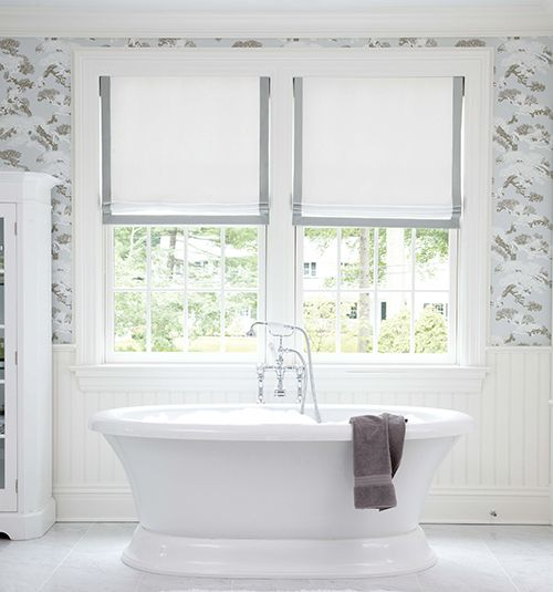 Blindsgalore® Designer Roman Shades: Shown in Wales: White with Pewter Edge Ribbon Trim, Flat Fold style with Blackout Liner