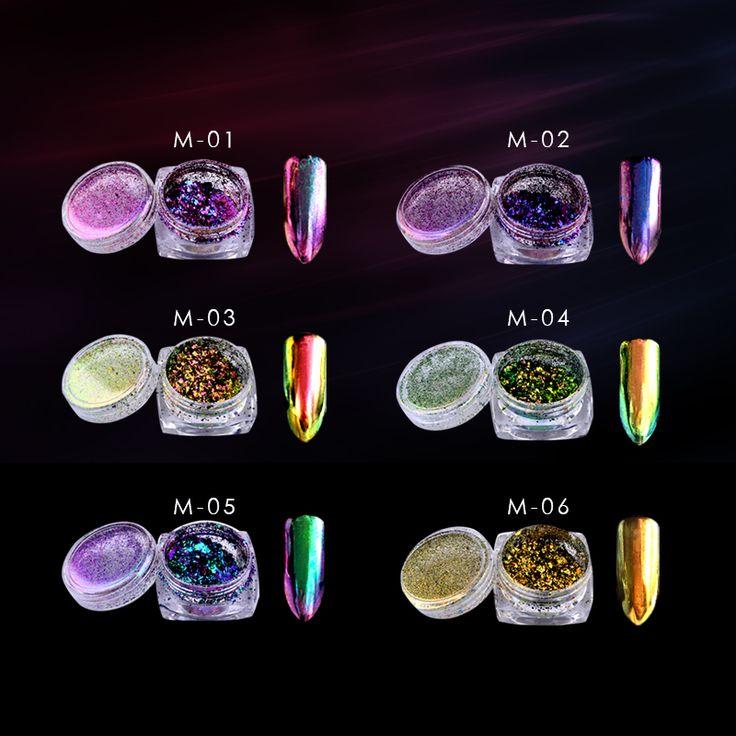 1 Box 0,2g Chameleon Flakes Nagel Glitter Pulver Staub Bling Shinny Squins Nagelkunstdekorationen Maniküre Werkzeuge