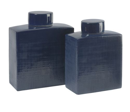 """Wilfred Ceramic Canisters - Set of 2 12-11""""""""h x 10-8""""""""w x 5.25-4.25"""""""""""